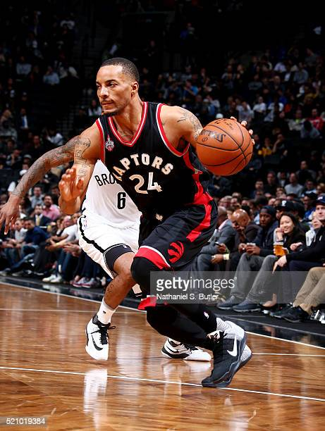 Norman Powell of the Toronto Raptors drives to the basket against the Brooklyn Nets on April 13 2016 at Barclays Center in Brooklyn New York NOTE TO...
