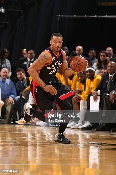 Norman Powell of the Toronto Raptors drives to the basket against the Indiana Pacers during Game Four of the Eastern Conference Quarterfinals during...
