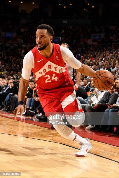 Norman Powell of the Toronto Raptors drives to the basket during the game against the Phoenix Suns on January 17 2019 at the Scotiabank Arena in...