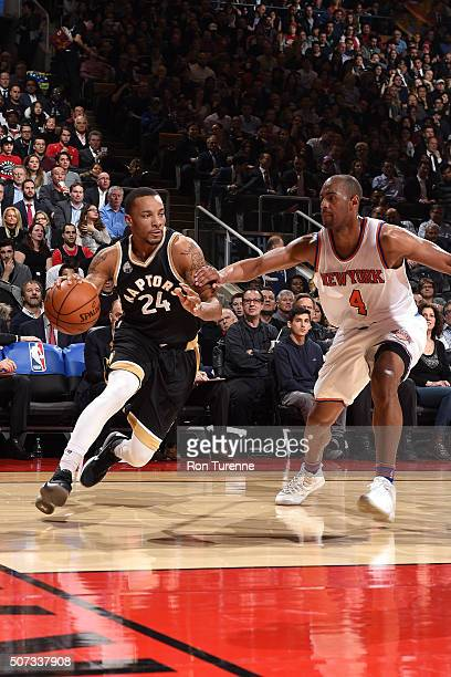 Norman Powell of the Toronto Raptors drives to the basket during the game against the New York Knicks on January 28 2016 at the Air Canada Centre in...