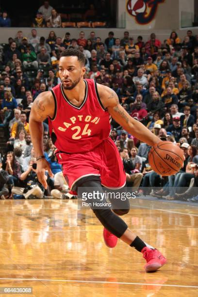 Norman Powell of the Toronto Raptors drives to the basket during the game against the Indiana Pacers on April 4 2017 at Bankers Life Fieldhouse in...