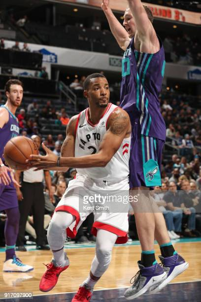 Norman Powell of the Toronto Raptors drives to the basket during the game against the Charlotte Hornets on February 11 2018 at Spectrum Center in...