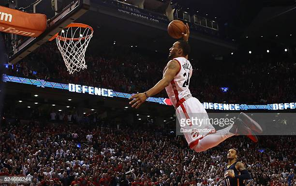 Norman Powell of the Toronto Raptors dunks against the Indiana Pacers in Game Five of the Eastern Conference Quarterfinals during the 2016 NBA...