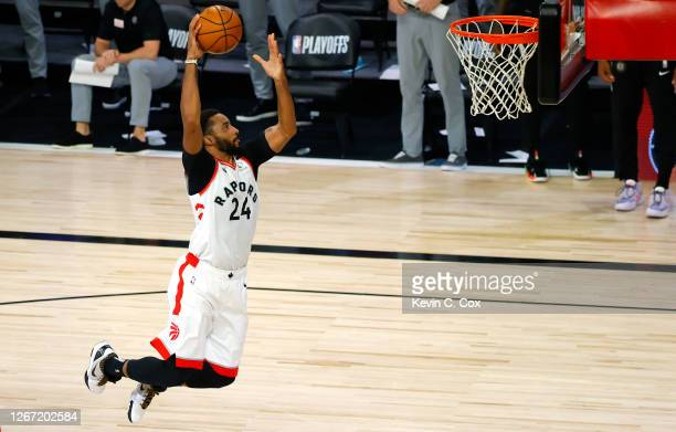 Norman Powell of the Toronto Raptors dunks in the final seconds against the Brooklyn Nets during the fourth quarter in Game Two of the Eastern...