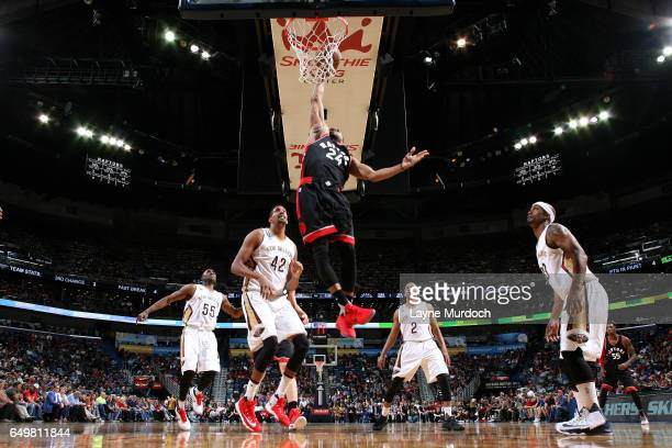 Norman Powell of the Toronto Raptors dunks the ball during the game against the New Orleans Pelicans on March 8 2017 at the Smoothie King Center in...