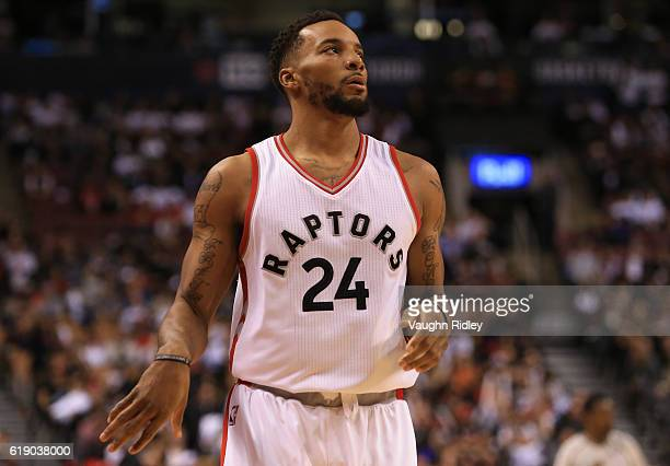 Norman Powell of the Toronto Raptors during an NBA game against the Detroit Pistons at Air Canada Centre on October 26 2016 in Toronto Canada NOTE TO...