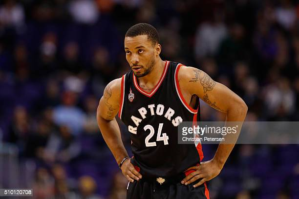 Norman Powell of the Toronto Raptors during the NBA game against the Phoenix Suns at Talking Stick Resort Arena on February 2 2016 in Phoenix Arizona...
