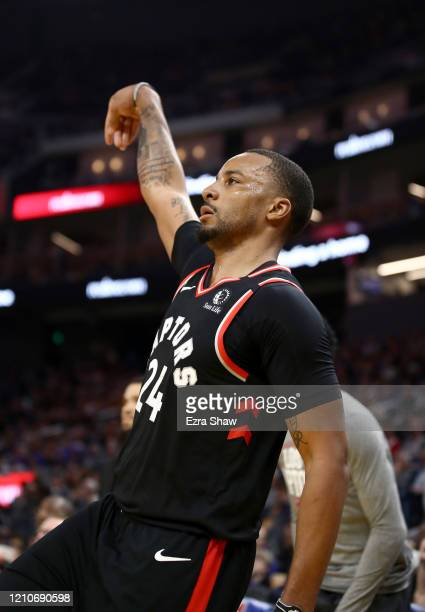 Norman Powell of the Toronto Raptors follows through on a shot during their game against the Golden State Warriors at Chase Center on March 05 2020...