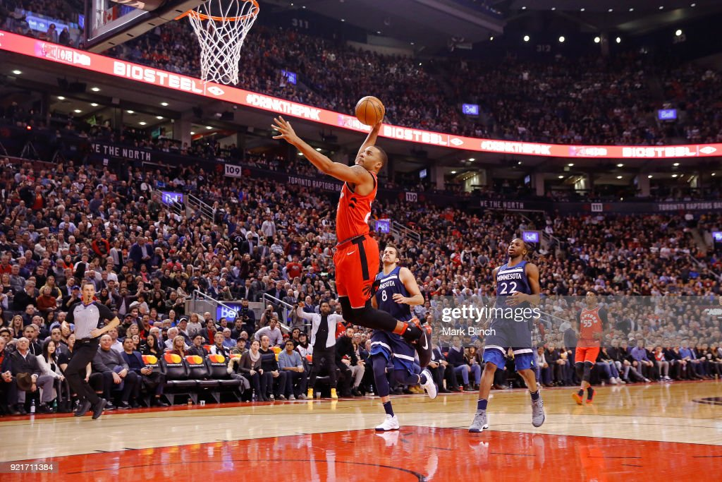 Norman Powell #24 of the Toronto Raptors goes to the basket against the Minnesota Timberwolves on January 30, 2018 at the Air Canada Centre in Toronto, Ontario, Canada.