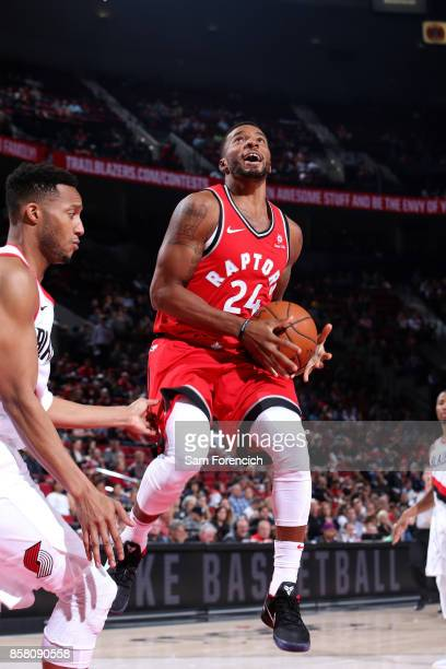 Norman Powell of the Toronto Raptors goes to the basket during the game against the Portland Trail Blazers during a preseason game on October 5 2017...