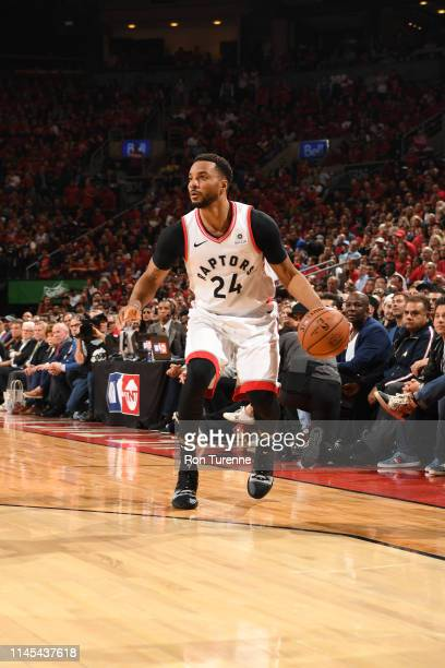 Norman Powell of the Toronto Raptors handles the ball against the Milwaukee Bucks during Game Four of the Eastern Conference Finals on May 21 2019 at...