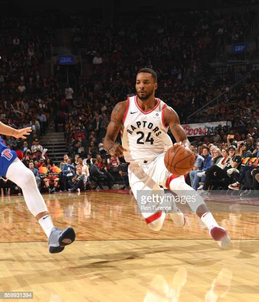 Norman Powell of the Toronto Raptors handles the ball against the Detroit Pistons during the preseason game on October 10 2017 at the Air Canada...