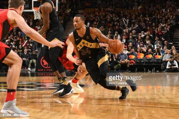 Norman Powell of the Toronto Raptors handles the ball against the Portland Trail Blazers on February 2 2018 at the Air Canada Centre in Toronto...