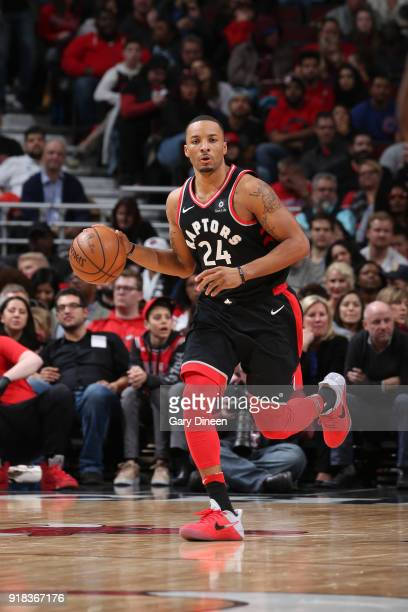 Norman Powell of the Toronto Raptors handles the ball against the Chicago Bulls on February 14 2018 at the United Center in Chicago Illinois NOTE TO...