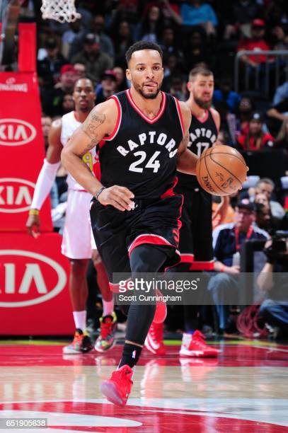 Norman Powell of the Toronto Raptors handles the ball during a game against the Atlanta Hawks on March 10 2017 at Philips Arena in Atlanta Georgia...