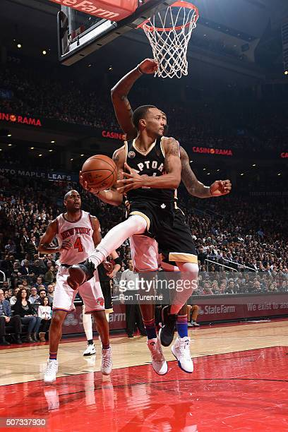 Norman Powell of the Toronto Raptors handles the ball during the game against the New York Knicks on January 28 2016 at the Air Canada Centre in...
