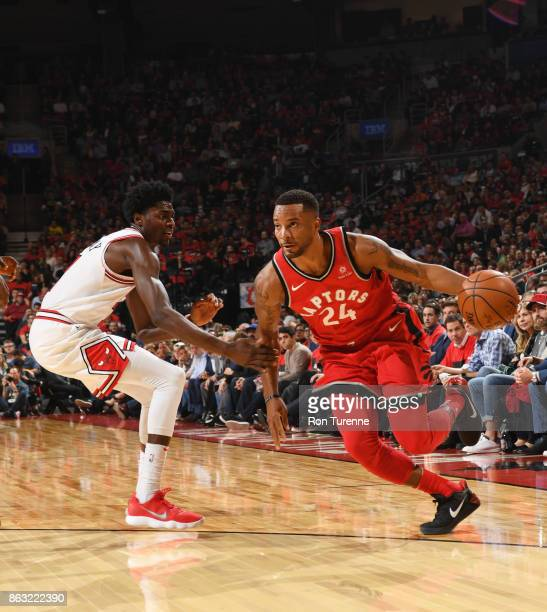 Norman Powell of the Toronto Raptors handles the ball during the game against the Chicago Bulls on October 19 2017 at the Air Canada Centre in...