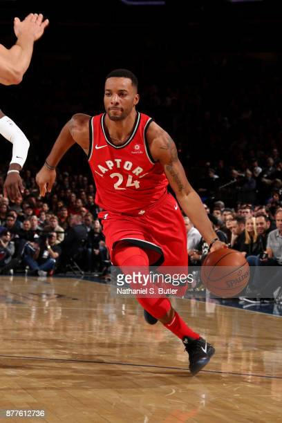 Norman Powell of the Toronto Raptors handles the ball during the game against the New York Knicks on November 22 2017 at Madison Square Garden in New...