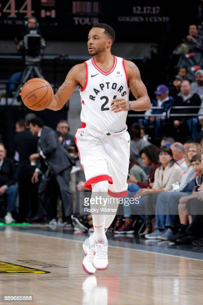Norman Powell of the Toronto Raptors handles the ball during the game against the Sacramento Kings on December 10 2017 at Golden 1 Center in...