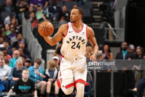 Norman Powell of the Toronto Raptors handles the ball during the game against the Charlotte Hornets on February 11 2018 at Spectrum Center in...