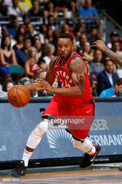 Norman Powell of the Toronto Raptors handles the ball during the preseason game against the LA Clippers on October 1 2017 at the Stan Sheriff Center...