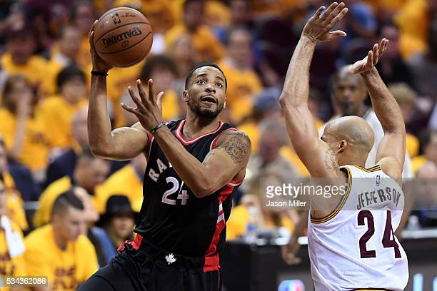Norman Powell of the Toronto Raptors handles the ball in the fourth quarter against Richard Jefferson of the Cleveland Cavaliers in game five of the...