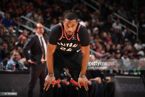 Norman Powell of the Toronto Raptors looks on during the game against the Detroit Pistons on January 31 2020 at Little Caesars Arena in Detroit...