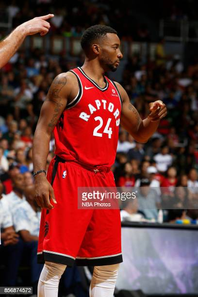 Norman Powell of the Toronto Raptors looks on during the preseason game against the LA Clippers on October 1 2017 at the Stan Sheriff Center in...
