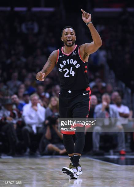 Norman Powell of the Toronto Raptors reacts after his fall during a 9888 LA Clippers win at Staples Center on November 11 2019 in Los Angeles...