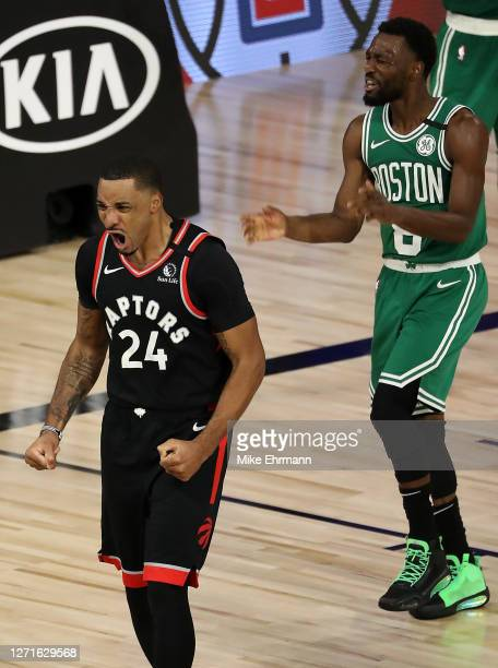 Norman Powell of the Toronto Raptors reacts during overtime against the Boston Celticsin Game Six of the Eastern Conference Second Round during the...