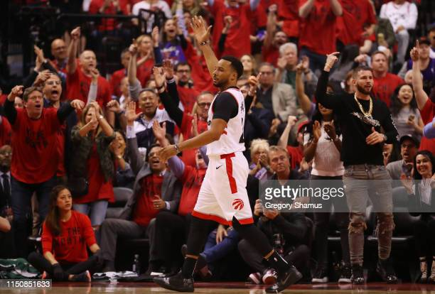 Norman Powell of the Toronto Raptors reacts during the first half in game four of the NBA Eastern Conference Finals against the Milwaukee Bucks at...