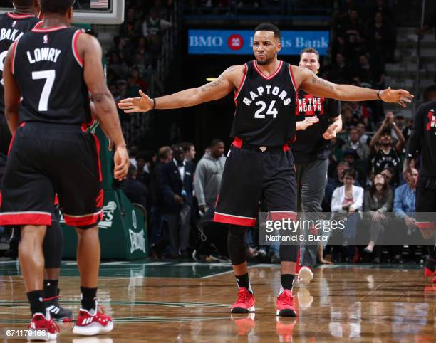 Norman Powell of the Toronto Raptors reacts to a play during Game Six of the Eastern Conference Quarterfinals of the 2017 NBA Playoffs on April 27...