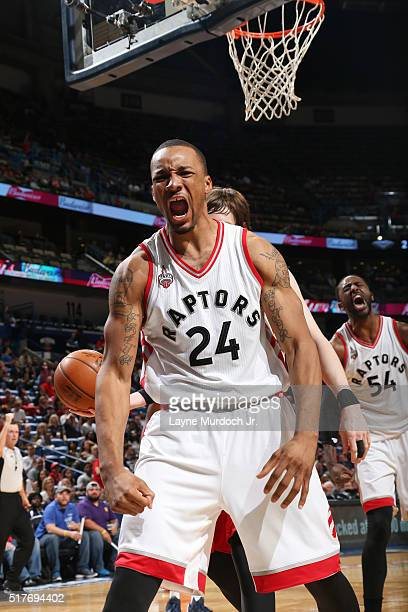 Norman Powell of the Toronto Raptors reacts to a play during the game against the New Orleans Pelicans on March 26 2016 at Smoothie King Center in...