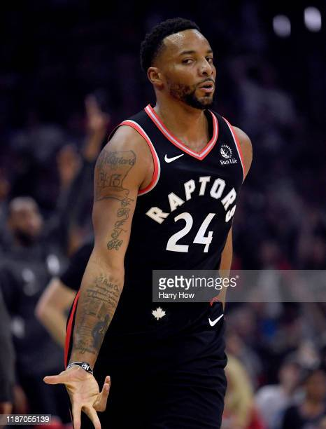 Norman Powell of the Toronto Raptors reacts to his three pointer during the first half against the LA Clippers at Staples Center on November 11 2019...