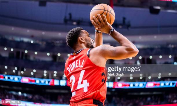 Norman Powell of the Toronto Raptors shoots a three pointer against the Charlotte Hornets during their NBA basketball game at Scotiabank Arena on...