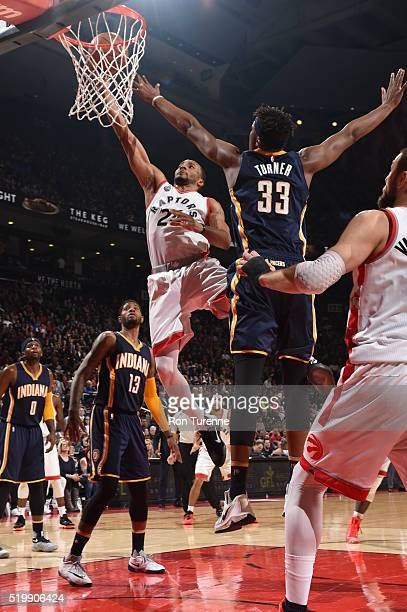 Norman Powell of the Toronto Raptors shoots the ball against the Indiana Pacers on April 8 2016 at the Air Canada Centre in Toronto Ontario Canada...