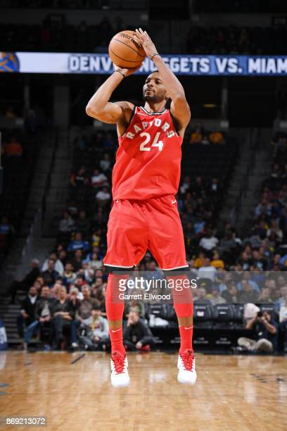 Norman Powell of the Toronto Raptors shoots the ball against the Denver Nuggets on November 1 2017 at the Pepsi Center in Denver Colorado NOTE TO...