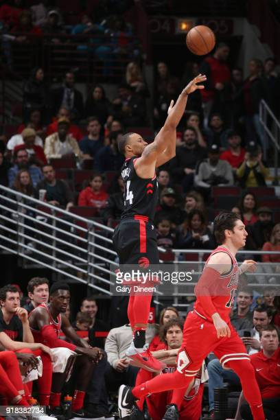 Norman Powell of the Toronto Raptors shoots the ball against the Chicago Bulls on February 14 2018 at the United Center in Chicago Illinois NOTE TO...