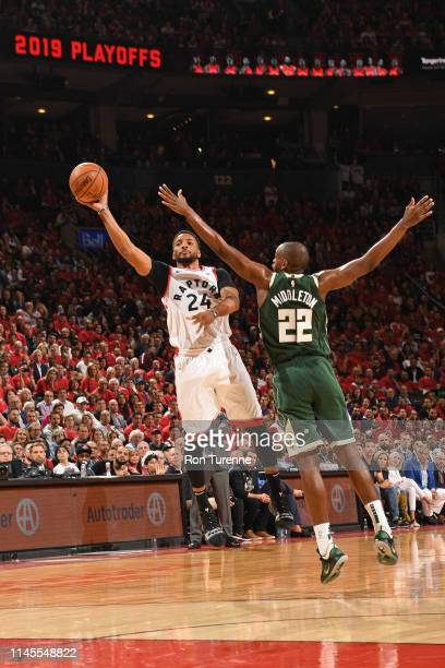 Norman Powell of the Toronto Raptors shoots the ball against the Milwaukee Bucks during Game Four of the Eastern Conference Finals on May 21 2019 at...
