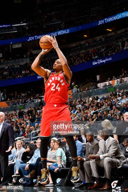 Norman Powell of the Toronto Raptors shoots the ball during a game against the Orlando Magic on November 29 2019 at Amway Center in Orlando Florida...