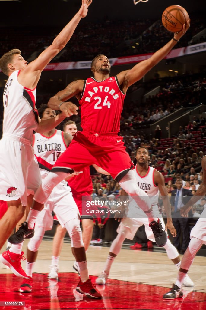 Norman Powell #24 of the Toronto Raptors shoots the ball during the preseason game against the Portland Trail Blazers on October 5, 2017 at the Moda Center Arena in Portland, Oregon.