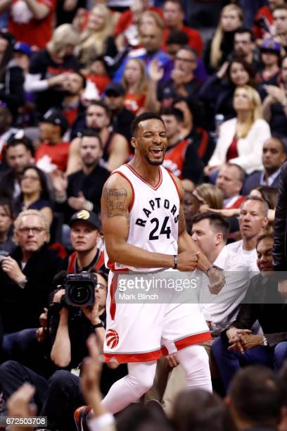 Norman Powell of the Toronto Raptors smiles during the game against the Milwaukee Bucks during Game Five of the Eastern Conference Quarterfinals of...