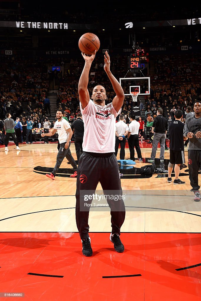 Norman Powell #24 of the Toronto Raptors warms up before the game against the Boston Celtics on March 18, 2016 at the Air Canada Centre in Toronto, Ontario, Canada.