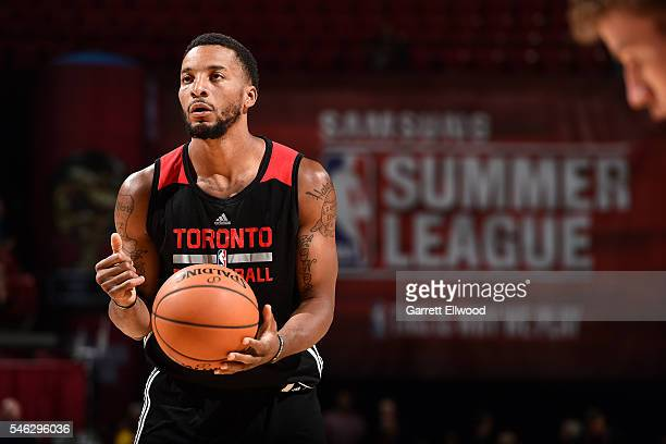 Norman Powell of Toronto Raptors shoots a free throw during the game against the Dallas Mavericks during the 2016 Las Vegas Summer League on July 11...