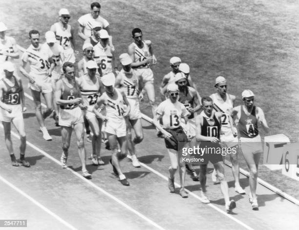 Norman Read of New Zealand leads the field during the 50 kilometre walk final at the Olympics Melbourne 29th November 1956 He finished with a 400...