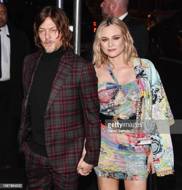 Norman Reedus and Diane Kruger are seen outside the Versace PreFall 2019 Collection on December 2 2018 in New York City