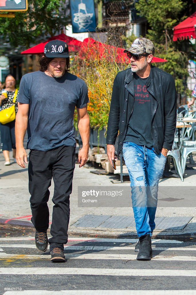 Norman Reedus (L) and Jeffrey Dean Morgan are seen in the East Village on October 6, 2017 in New York City.