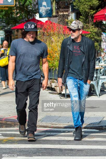 Norman Reedus and Jeffrey Dean Morgan are seen in the East Village on October 6 2017 in New York City