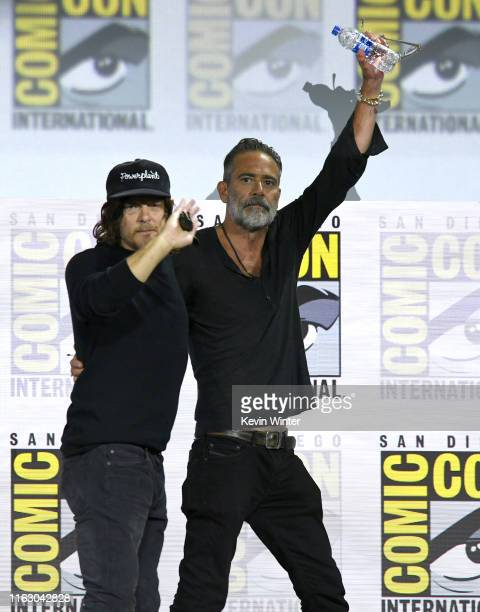 """Norman Reedus and Jeffrey Dean Morgan speak at """"The Walking Dead"""" Panel during 2019 Comic-Con International at San Diego Convention Center on July..."""