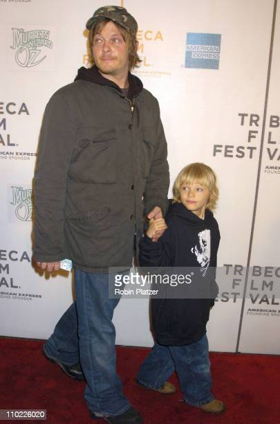 Norman Reedus and son Mingus during 4th Annual Tribeca Film Festival 'The Muppets' Wizard of Oz' Premiere at The Tribeca Performing Arts Center in...